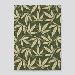 Marijuana Leaf Pattern 5'x7'Area Rug