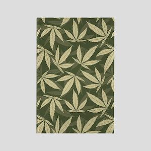 Marijuana Leaf Pattern Rectangle Magnet