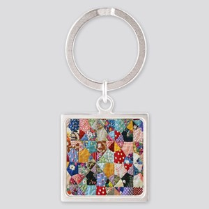 Colorful Patchwork Quilt Square Keychain