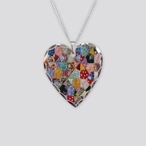 Colorful Patchwork Quilt Necklace Heart Charm