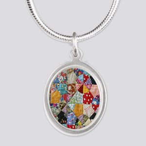 Colorful Patchwork Quilt Silver Oval Necklace