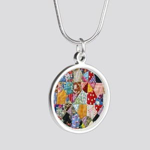 Colorful Patchwork Quilt Silver Round Necklace