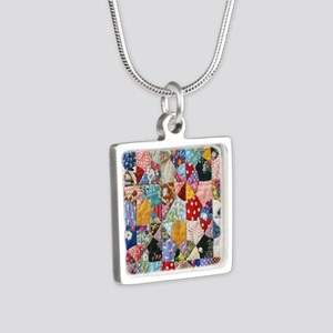 Colorful Patchwork Quilt Silver Square Necklace