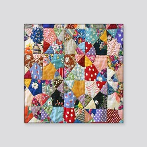 """Colorful Patchwork Quilt Square Sticker 3"""" x 3"""""""