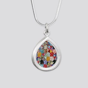 Colorful Patchwork Quilt Silver Teardrop Necklace