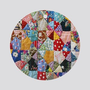 Colorful Patchwork Quilt Round Ornament
