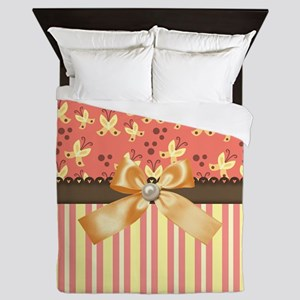 Country Butterflys Yellow Bow And Stri Queen Duvet