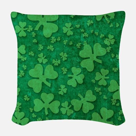 Shamrock Pattern Woven Throw Pillow