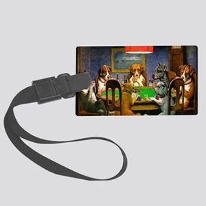 Card Playing Dogs Large Luggage Tag