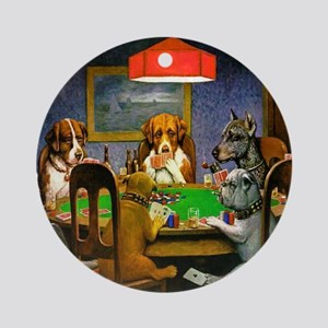 Card Playing Dogs Round Ornament