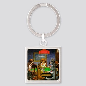 Card Playing Dogs Square Keychain
