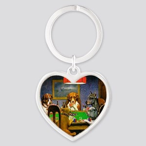 Card Playing Dogs Heart Keychain