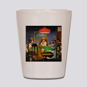 Card Playing Dogs Shot Glass