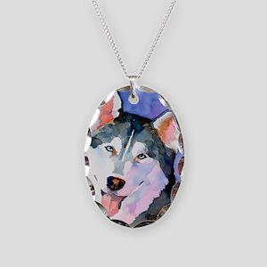 Husky #1 Necklace Oval Charm