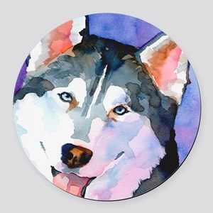 Husky #1 Round Car Magnet