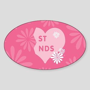 Pink Best Friends Heart Right Oval Sticker