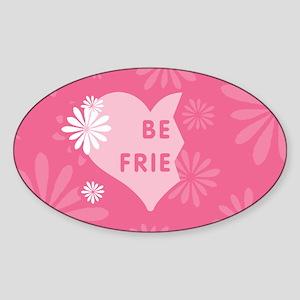 Pink Best Friends Heart Left Oval Sticker