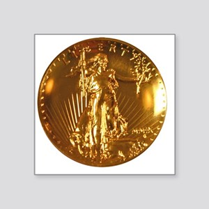 """Ultra High Relief Gold Coin Square Sticker 3"""" x 3"""""""