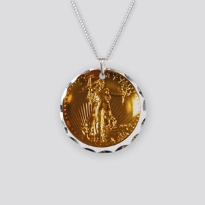 Ultra High Relief Gold Coin Necklace Circle Charm