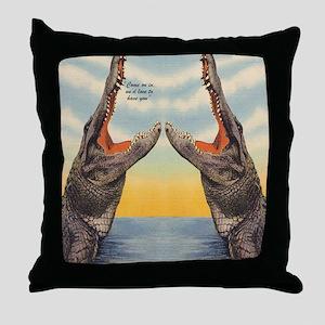 Vintage Alligator Postcard Throw Pillow