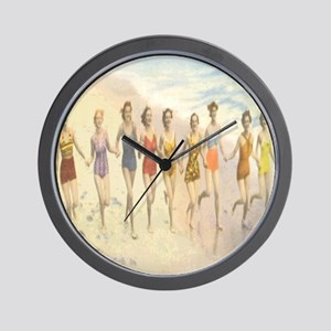 Vintage Beach Beauties Postcard Wall Clock