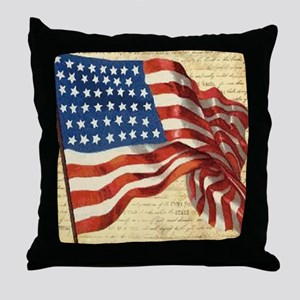Vintage American Flag Constitution Throw Pillow