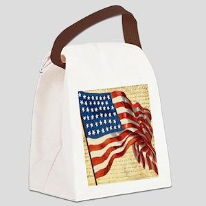 Vintage American Flag Constitutio Canvas Lunch Bag