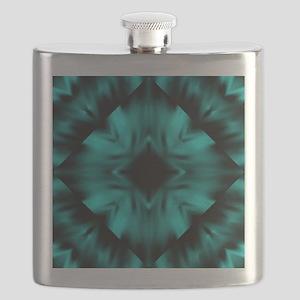 Teal and Black Digital Art Flask