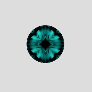 Teal and Black Digital Art Mini Button
