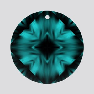 Teal and Black Digital Art Round Ornament