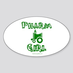Pharm Girl Oval Sticker