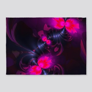 Flower Fairy - Rose and Magenta Rib 5'x7'Area Rug