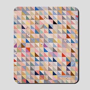 Vintage Triangles Patchwork Quilt Mousepad