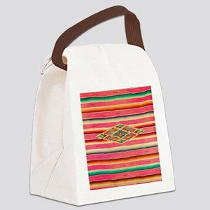 Vintage Pink Mexican Serape Canvas Lunch Bag
