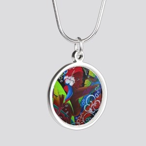 Where Rainbows Dance 2 Silver Round Necklace