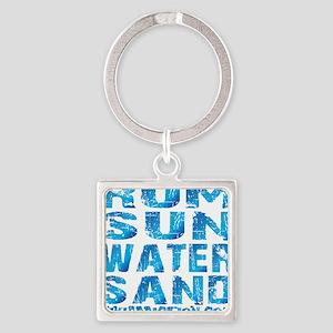 TIKI - RUM SUN WATER SAND - OCEAN Square Keychain