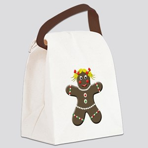 Christmas Gingerbread Girl Canvas Lunch Bag