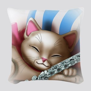 Napping Cat and Flute Woven Throw Pillow
