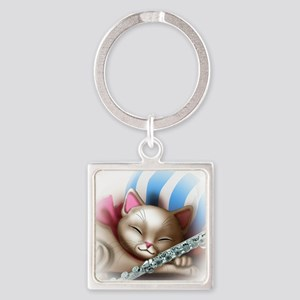 Napping Cat and Flute Square Keychain
