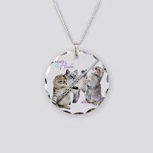 Felines  Flute Necklace Circle Charm