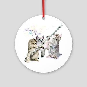 Felines  Flute Round Ornament