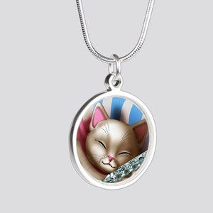 Napping Cat and Flute Silver Round Necklace