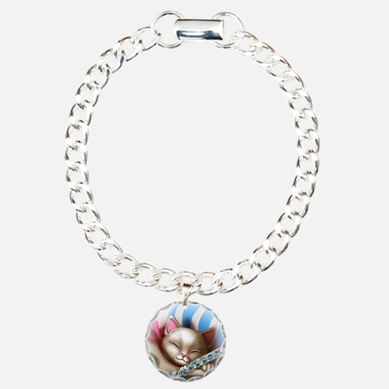 Napping Cat and Flute Charm Bracelet, One Charm