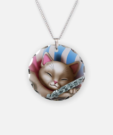 Napping Cat and Flute Necklace