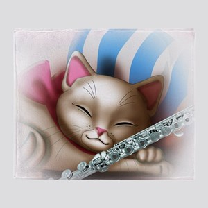 Napping Cat and Flute Throw Blanket