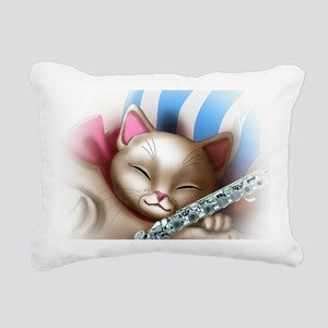Napping Cat and Flute Rectangular Canvas Pillow