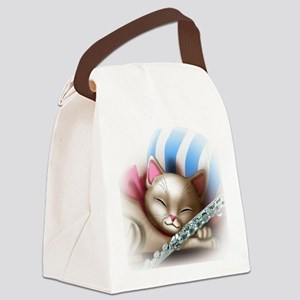 Napping Cat and Flute Canvas Lunch Bag