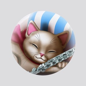"""Napping Cat and Flute 3.5"""" Button"""