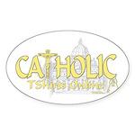 Catholic TShirts Online (Gold) Oval Sticker