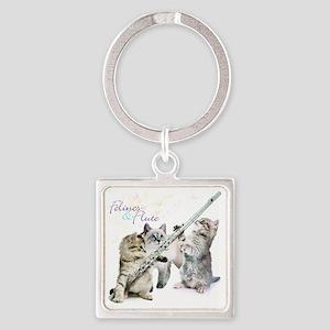 Felines & Flute Square Keychain